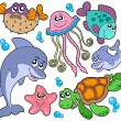 Sea fishes and animals collection — Vector de stock