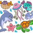 Sea fishes and animals collection - Stockvektor