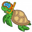 Sea turtle snorkel diver - Stock Vector