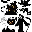 Royalty-Free Stock Vector Image: Set of Halloween silhouettes