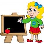 školy dívka psaní na tabuli — Stock vektor