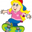 Stock Vector: Skateboarding girl