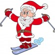 Stock Vector: Skiing Santa Claus