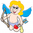 Small cupid with bow — Stock Vector