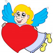 Smiling cupid with heart — Stock Vector