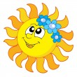 Smiling Sun with flowers — Stock Vector
