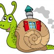 Stock Vector: Snail with shell house