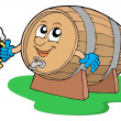 Royalty-Free Stock Vector Image: Smiling wooden keg holding beer