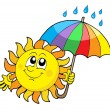 Smiling Sun with umbrella — Vector de stock