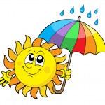 sol sonriente con paraguas — Vector de stock