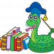 Stock Vector: Snake teacher with books