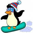 Stock Vector: Snowboarding penguin