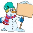 Snowman with sign — Stock Vector