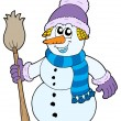 Snowman with broom — Stock Vector