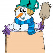 Snowman with sign and broom — Stock Vector