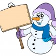 Snowman with wooden sign — Stock Vector