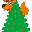Squirrel on coniferous tree — Imagen vectorial