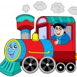 Steam locomotive with engine driver — Imagen vectorial