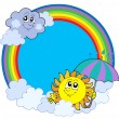 Sun and clouds in rainbow circle - Stock Vector