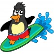 Surfing penguin — Stock Vector