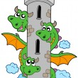 Stock Vector: Three headed dragon with tower