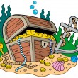 Royalty-Free Stock Vector Image: Treasure chest on sea bottom