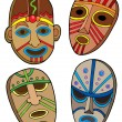 Tribal masks collection - Stock Vector