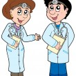 Two cartoon doctors — Stock Vector