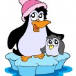 Vector de stock : Two penguins on iceberg