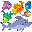 Various cartoon fishes collection — Stockvektor