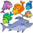 Various cartoon fishes collection - Stock Vector
