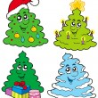 Various cartoon Christmas trees — Stock Vector