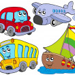 Various cartoon vehicles - Stok Vektör