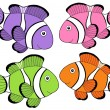 Stock Vector: various color clownfishes 2