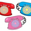 Stock Vector: Various colors telephones