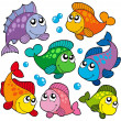 Various cute fishes collection 2 — Stock Vector