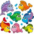 Stock Vector: Various cute fishes collection 2