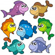 Various cute fishes collection — Stock Vector