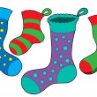 Various Christmas socks — Stock Vector