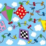 Various kites flying on sky — Stock Vector #2261412