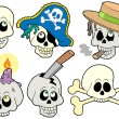 Various skulls collection — Stock Vector