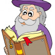 Wizard reading magic book - Stock Vector