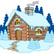 Stock Vector: Wooden cottage in winter landscape