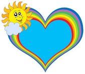 Rainbow heart with Sun — Stock Vector