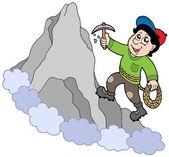 Rock climber on mountain — Stock Vector