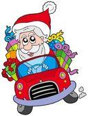 Santa Claus driving car — Stock Vector