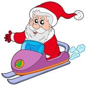 Santa Claus on scooter — Stock Vector