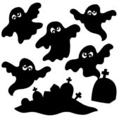 Scary ghosts silhouettes collection — Stock Vector