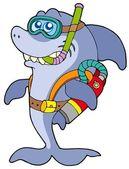 Shark scuba diver — Stock Vector