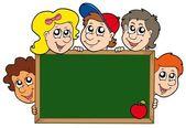 School blackboard with children — Stock Vector